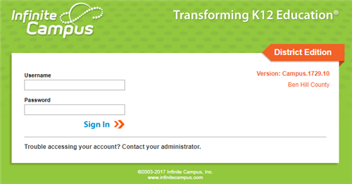 Teacher Log in Screen to Infinite Campus