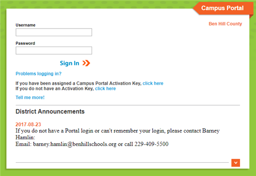 Link to Infinite Campus Portal for students and parents