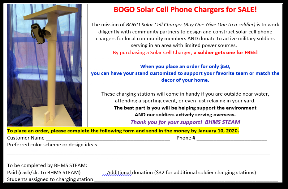 BHMS STEAM CLASS IS SELLING SOLAR POWER CHARGING STATIONS