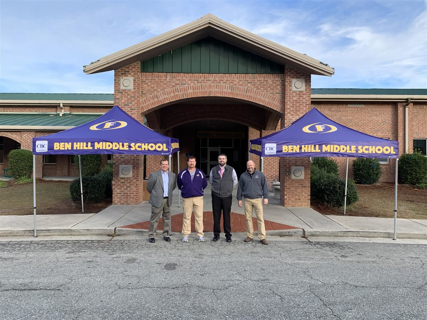 Community Bank donates tents to BHMS and FHSCCA