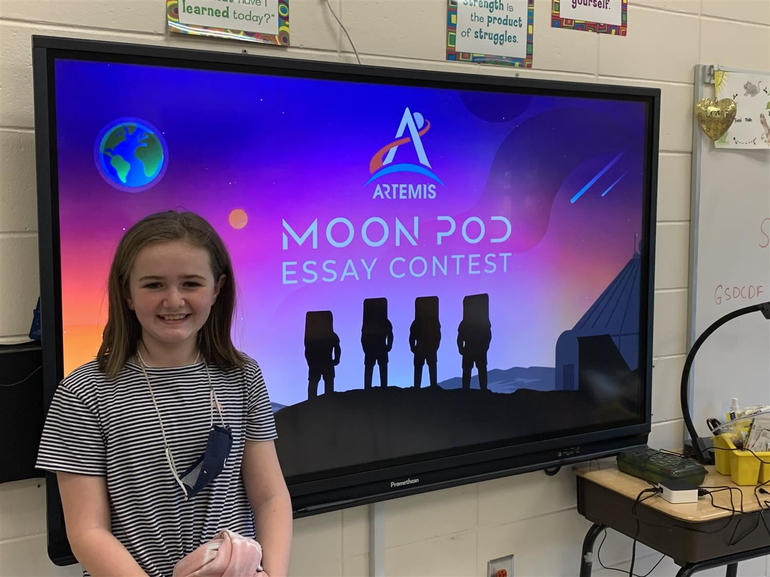Callie Jacobs, a 4th grader at BHES, is a SemiFinalist in the Moon Pod Essay Contest