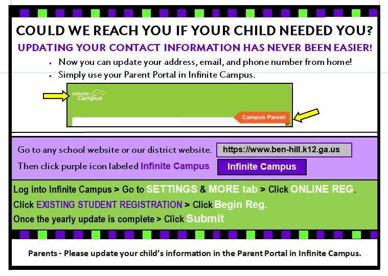 Please Update Your Parent Portal in Infinite Campus